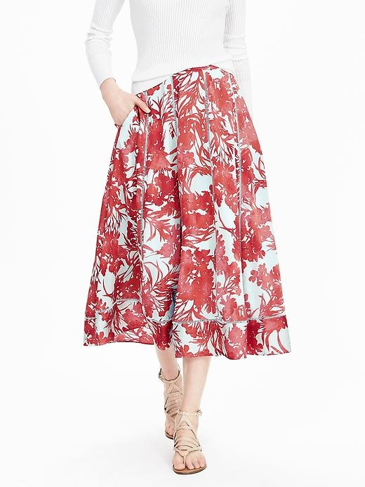 Ruched Floral Midi Skirt