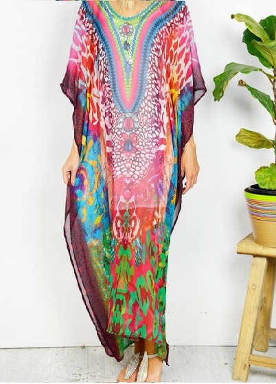 Maroon Animal Maxi Kaftan