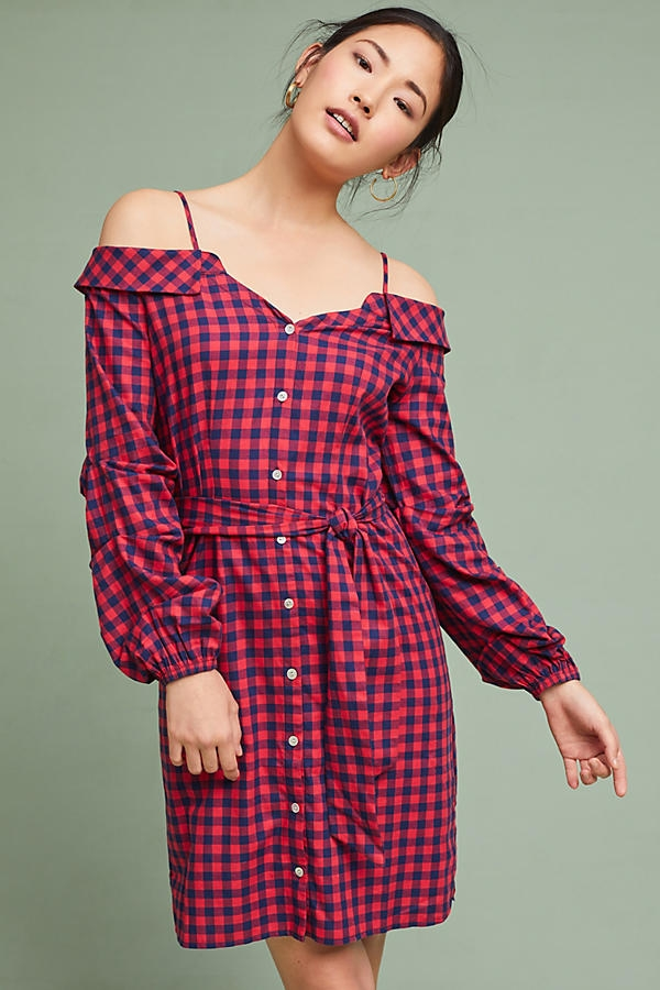 Anthro Plaid Off The Shoulder